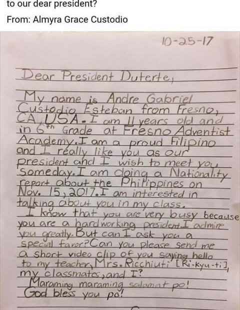 PRRD responds to a Fil-Am stud's request